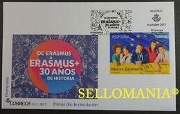 2017 30 ANIVERSARIO BECAS ERASMUS 5168  SPD FDC   SCHOLARSHIPS BANDERA FLAG EU UE TC20817 - FDC
