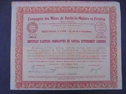 FRANCE - 69 - CIE MINES DE ROCHE LA MOLIERE ET FIRMINY -CERTIFICAT D'ACTIONS NOMINATIVES - LYON 1940 - Azioni & Titoli