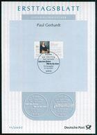 BRD - 2007 ETB 11/2007 - Mi 2592 - 55C  Paul Gerhardt - FDC: Panes