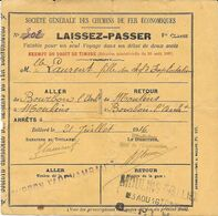 1916 - Société Générale Des Chemins De Fer Economiques - LAISSEZ-PASSER 1re Classe Aller-Retour ............... - Transporttickets