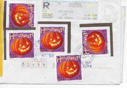 Lettre Recommandée Du 25/03/2002 De Asnières (92) à Saint Ouen (93) Avec Affranchissement 5 Timbres Halloween Et 1EMA - 1961-....