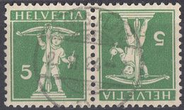 HELVETIA - SUISSE - SVIZZERA - 1910 - Tête-bêche Yvert 136a Usato, Come Da Immagine. - Tete Beche