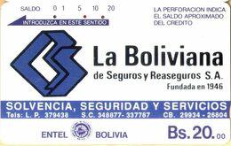 Bolivia - ENTEL-010, Tamura, La Boliviana Insurance (Brown Magnetic Side), 20 Bs., Used As Scan - Bolivia
