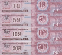 KOREA Set 1 5 10 50 Chon 1988  P 23(2) 24(2) 25(2) 26(2)  UNC - Corea Del Norte
