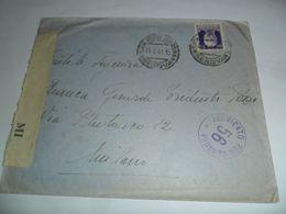 Italia REGNO STORIA POSTALE  BUSTA VERIFICATA PER CENSURA  1941 - Marcophilia
