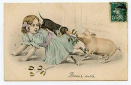 Bonne Année.petite Fille Et Son Chien Teckel.cochon - Cani