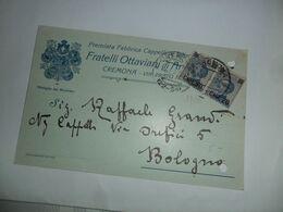 Italia REGNO Cartolina COMMERCIALE 1925 Da CREMONA A BOLOGNA Affrancata Con SOPRASTAMPATI - Marcophilia