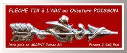 """RARE Et SUPER PIN'S FLECHE """"Tir à L'Arc"""" : En ZAMAC ARGENT 3D Avec Découpes Ou Visuel Ossature POISSON    2,4X0,5cm - Tir à L'Arc"""