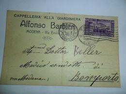 Italia REGNO Cartolina COMMERCIALE 1927 Da MODENA  A BOMPORTO Affrancata Cent FRANCESCANO - Marcophilia