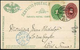 MEXICO 1890 (29.12.) 2 C. Amtl. P. Ziffer, Braun: Adler Mit Schlange U.  K A K T U S + Zusatz-Frankat. 1 C. Ziffer, Klar - Sukkulenten