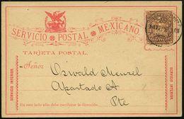 MEXICO 1897 (22.11.) Amtl. P 3 C. Braun: Briefbote Im  K A K T U S - Feld + Motiv Adler Mit Schlange Auf Kaktus, Inl.-Kt - Sukkulenten