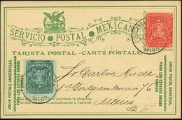 "MEXICO 1897 (Okt.) 2 C. Inl.-P. ""Postbote Im  K A K T U S - Feld"",  Rot + Motivgl. Zusatzfrankat. 1 C. Grün , Bedarfs-In - Sukkulenten"
