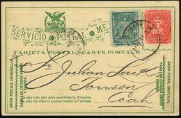 "MEXICO 1898 (25.2.) Amtl. P. 2 C. ""Postbote Im  K A K T U S - Feld"" , Rs. Firmenzudruck: FERROCARRIL INT. MEXICO (Adler) - Sukkulenten"