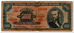 BRAZIL,5000 CRUZEIROS,1965,P.174c,GRAFITI ON BACK - Brazilië