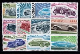 Monaco - YV 1018 à 1028 N** Complete Voitures , Les Lignes De L'automobile Cote 46 Euros - Monaco