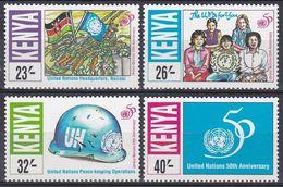 Kenia Kenya 1995 Organisationen Vereinte Nationen UNO ONU Fahnen Flaggen Flags Bauhelm Helme Helmets, Mi. 636-9 ** - Kenia (1963-...)
