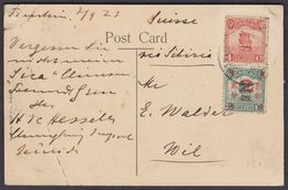 CHINA 1923  /  NICE STAMP COMBINATION ON POSTCARD FROM TIENTSIN TO WIL SWITZERLAND - 1912-1949 Republic