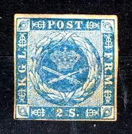 DENMARK  1854 2 S  BLUE  MH - Neufs