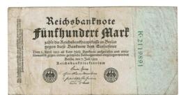 1922  GERMANIA REPUBBLICA DI WEIMAR BANCONOTE TEDESCA 500 FUNFHUNDERT MARK GERMANY BANKNOT BILLET DE BANQUE ALLEMAND - [ 3] 1918-1933 : Repubblica  Di Weimar