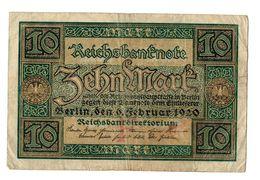 1920  GERMANIA REPUBBLICA DI WEIMAR BANCONOTE TEDESCA 10 ZEHN MARK GERMANY BANKNOT BILLET DE BANQUE ALLEMAND - [ 3] 1918-1933 : Repubblica  Di Weimar