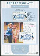 BRD - 2007 ETB 39/2007 - Mi 2629 + Schweden Mi Bl. 26 = 2617 - 100C  Astrid Lindgren - FDC: Hojas