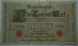 1910  GERMANIA PERIODO IMPERO BANCONOTE TEDESCA 1000 EINTAUSEND ZART MARK GERMANY BANKNOT BILLET DE BANQUE ALLEMAND - 1000 Mark