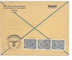 SH 0596. Mi SERVICE 2 (bande De 3) KRAKAU 15.9.40 S/Lettre Dienspost - Censure  Aigle - Vers Krakau. TB - Governo Generale