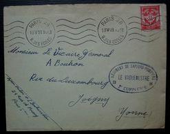 Régiment De Sapeurs-pompiers 2e Compagnie 1959 Paris 28 Lettre En Franchise Militaire Pour Joigny - Cachets Militaires A Partir De 1900 (hors Guerres)