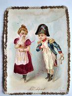 Chromos Chocolat Poulain - Chromos Avec Inclusion De Tissu - Fin XIX ème - Le Départ - Costume Empire -  - BE - Poulain