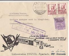 Lettre Espagne Publicitaire 1937 + Censure - 1931-Heute: 2. Rep. - ... Juan Carlos I