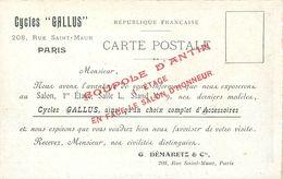 """PARIS 10° ARRONDISSEMENT -  LES CYCLES """" GALLUS """" - 208, RUE SAINT MAUR - VELO - CYCLISME - CPA PUB - District 10"""
