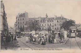 Bv - Cpa LORIENT - La Place Bisson Et La Rue Des Fontaines (animée, Tramway) - Lorient