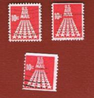 STATI UNITI (U.S.A.) - SG A1318    - 1968  AIR: FIFTY STARS (3 DIFFERENT PERFORATIONS)       - USED° - 3a. 1961-… Usati