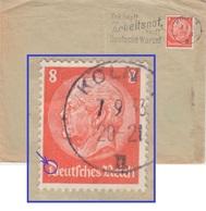 "DR - 8 Pfg. Hindenburg Wz. Waaben ""Offenes D"" Ortsbrief Köln 7.9.33 - Germany"