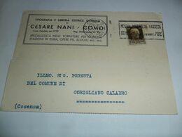 Italia REGNO Cartolina COMMERCIALE  1933 Da COMO A CORIGLIANO CALABRO On Annullo Targhetta - Marcophilia