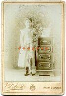 Photo Cabinet Vicenzo D'Aniello Portrait Young Woman Girl With Umbrella Marina Di Camerota Salerno Italia - Antiche (ante 1900)