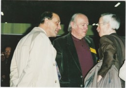 CPM Rencontre Aux Journées Nationales De La Carte Postale 1990 - Gérard Neudin, Jean Marie Petey Et Raymond Pagès - Borse E Saloni Del Collezionismo