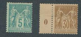 "DP-524: FRANCE: Lot Avec ""SAGE "" N°75*-80* - 1876-1898 Sage (Type II)"
