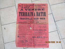 TROUVILLE SUR MER LE 7 MARS 1928 A VENDRE TERRAIN A BÂTIR ROUTE DE PONT-L'EVÊQUE TIMBRE FISCAL 1,08 FRANC 84cm/60cm - Plakate