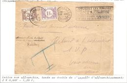 REF1616/ L. Non Affranchie C.BXL 22/8/28  T Bleu Manuscrit > Koekelberg En Manuscrit Retour Parti > Verso Taxée 1,20 Frs - Portomarken