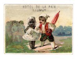 Chromo Avec Menu, Le Mariage, Couple Noir Et Blanc, Hôtel De La Paix, Saumur - Otros