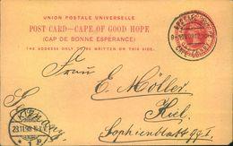 """1898, 1 Penny Picture Stat. Card (""""Simonstown"""") """"GPO CAPE OGH"""" To Kiel, Germany - Capo Di Buona Speranza (1853-1904)"""