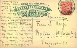 1914, Picture Postcard To Berlin. - Rhodesia Del Sud (...-1964)
