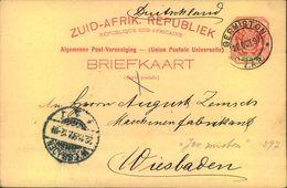 "1897, 1 Penny Stationery Postcard From ""GERMISTON"" To Germany - Nuova Repubblica (1886-1887)"