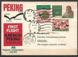PAKISTAN FIRST FLIGHT COVER PAKISTAN INTERNATIONAL AIRLINE 1973 KARACHI TO PEKING - Pakistán