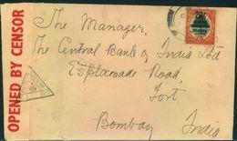 "1940, Letter With 6 D Southafrica Overprinted ""20 C Kenya, Tanganjika, Uganda"" With Censor To Bombay, India - Kenya, Uganda & Tanganyika"