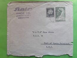 SURINAM SURINAME Lettre Brev Chaussures BATA Shoes  Cover PARAMARIBO , Yvert 160 & 171, 1936> Port Of Spain B.W.I - Surinam ... - 1975