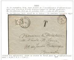 REF1622/ L.non Affranchie C.Liedekerke 26/3/1937 Griffe T > BXL Taxée 1,40 F TTx 45 C.BXL 26/3/37 - Portomarken