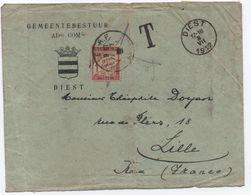 Lettre UPU Non Affranchie Belgique > LILLE FRANCE 1922 TAXE 1F Banderole Duval (valeur Rare à Cette époque) - Taxes