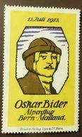 Werbemarke Cinderella Poster Stamp    Oskar Bider Alpenflug Bern Mailand 1913  #266 - Erinofilia